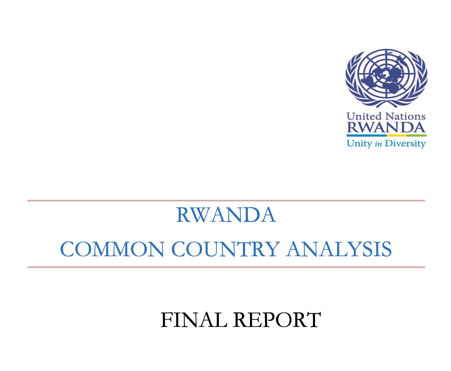 RWANDA COMMON COUNTRY ANALYSIS FINAL REPORT 2017