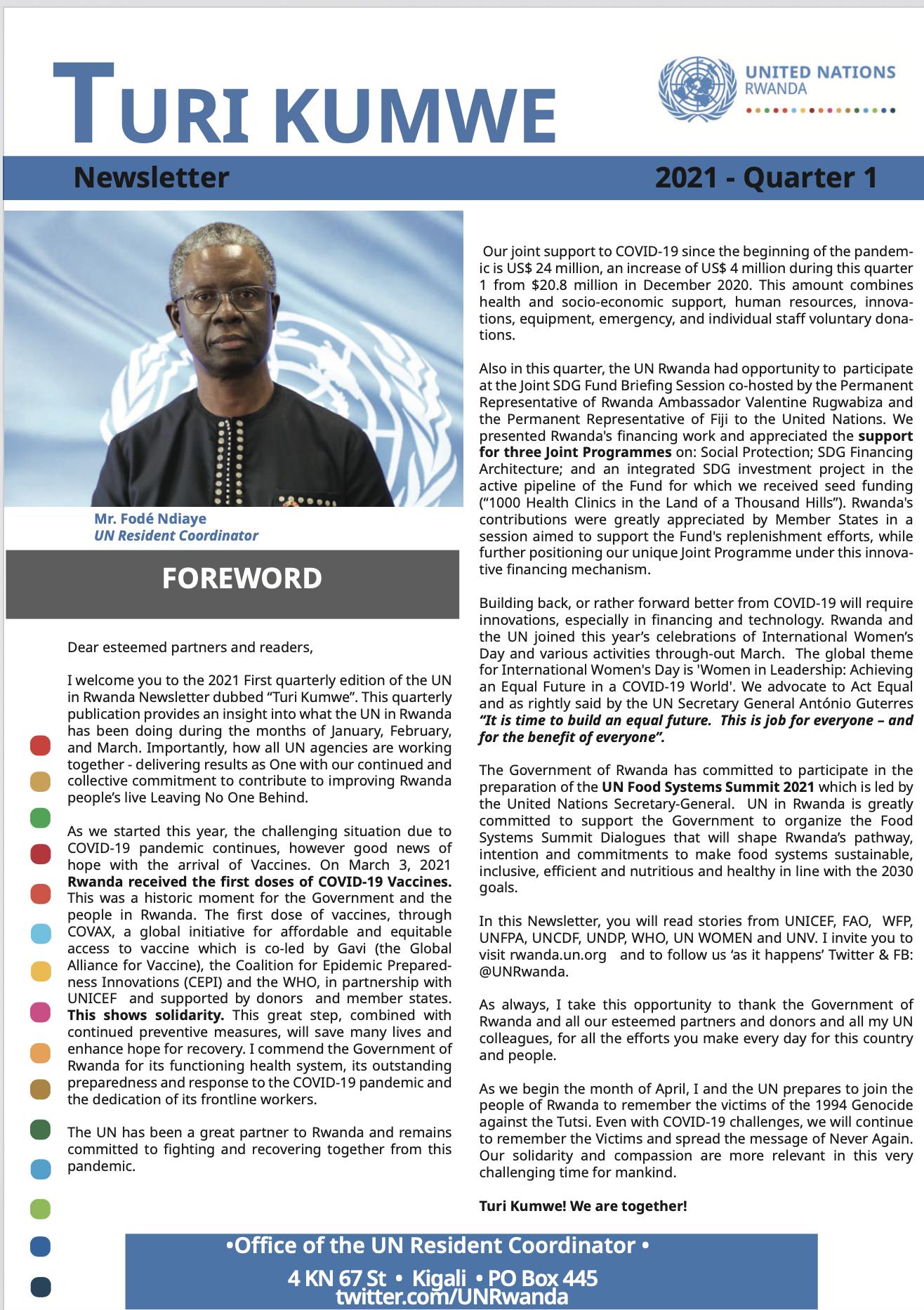 One UN Turi Kumwe Newsletter 2021 Quarter 1