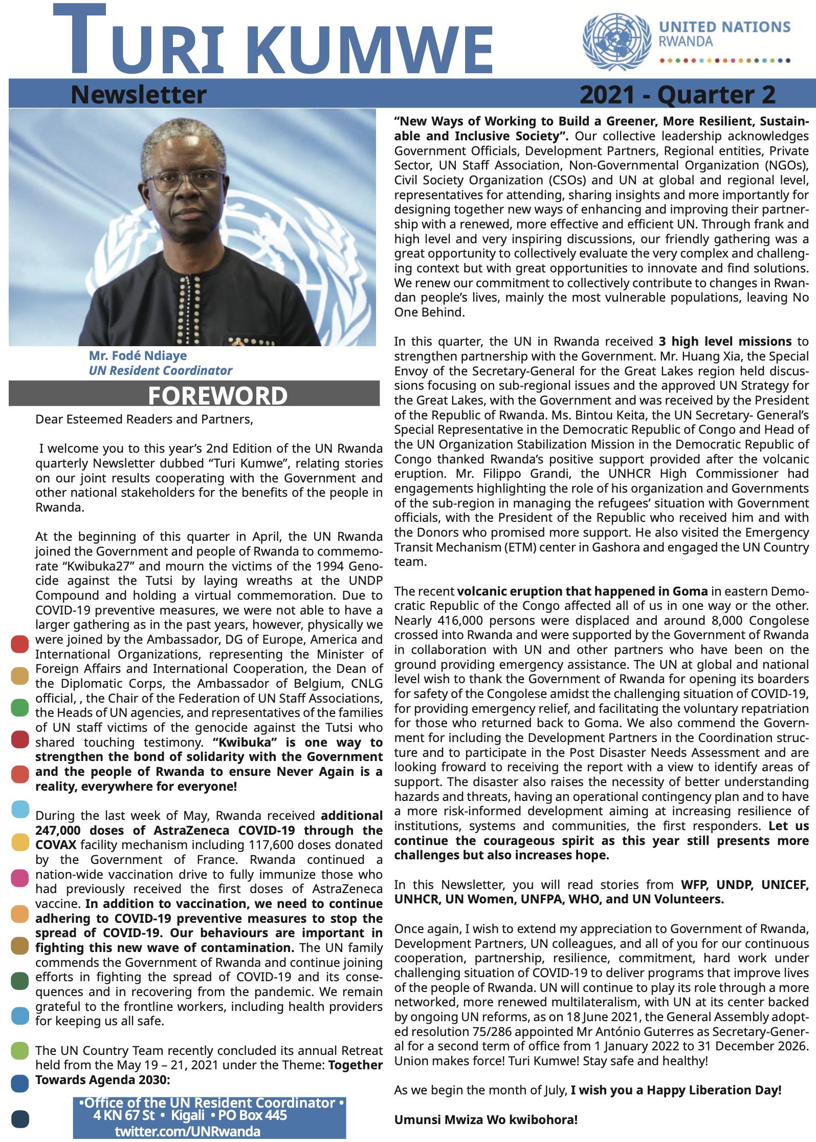 One UN Turi Kumwe Newsletter 2021 Quarter 2