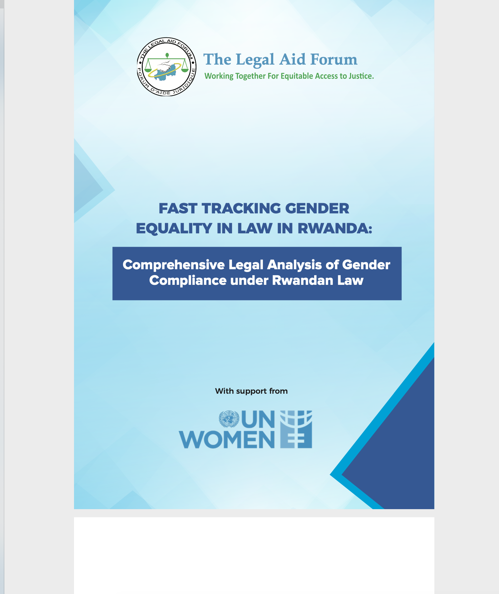 FAST TRACKING GENDER EQUALITY IN LAW IN RWANDA: Comprehensive Legal Analysis of Gender Compliance under Rwandan Law