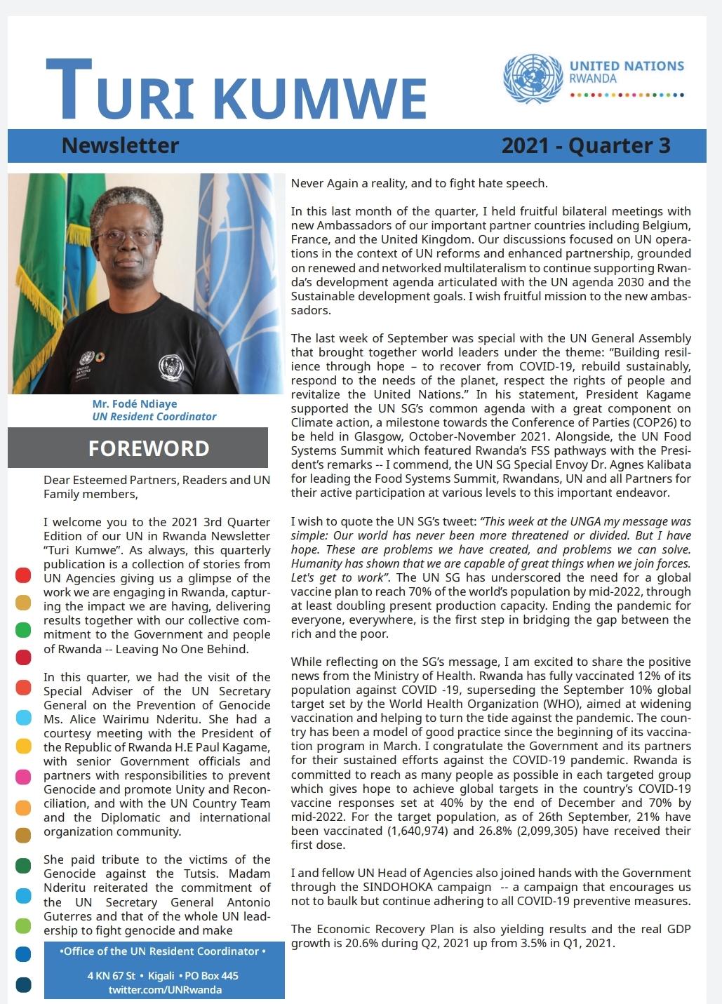 """UN Rwanda Quarterly Newsletter """"Turi Kumwe"""""""